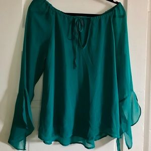Patterson J Kincaid Teal silk blouse